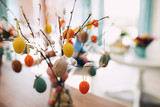 Easter eggs painted in pastel colors