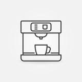 Coffee machine vector line minimal icon