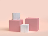 3d rendering minimal cube set cream background