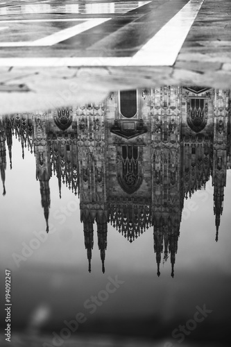 Fotobehang Milan Reflection in water Duomo of Milan, Italy