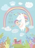 Cute unicorn with watermelon - 194101262
