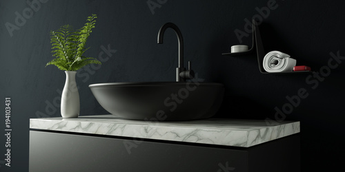 Black bathroom with white marble
