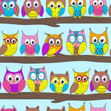 seamless pattern with funny owls on branch in color - vector illustration, eps