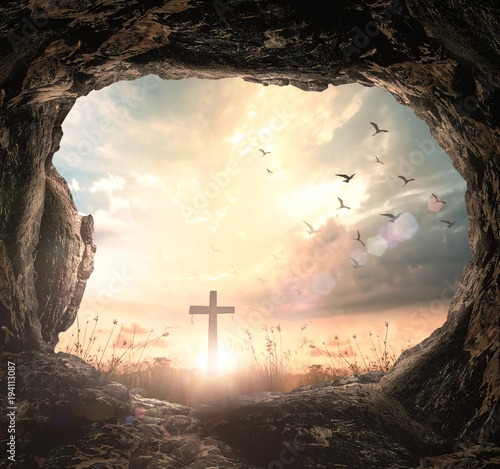 Resurrection Of Easter Sunday Concept Empty Tomb With Cross Symbol