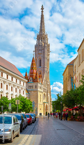 Aluminium Boedapest Budapest Hungary. Saint Matthias church on ancient street of old
