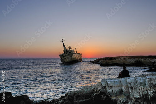 Deurstickers Cyprus Sunset at shipwreck in Pafos, Cyprus