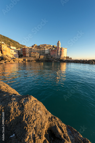 Foto op Aluminium Liguria Tellaro Village at sunset - Liguria Italy