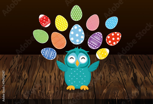 Tuinposter Uilen cartoon A cute owl has a happy smile and turns many colorful Easter eggs. Greeting card for the holiday. A blank space for your text or advertising. Vector on wooden background