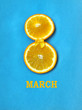 Women's Day, two slices of orange, yellow ribbon bow