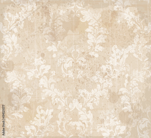 Damask ornament pattern texture Vector. Royal fabric background. Luxury decors textile - 194125077