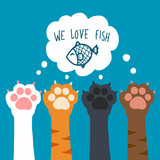 Cat paw we love fish cartoon vector illustration