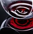 Glass of red wine, macro shot .