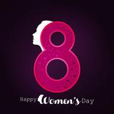 Women's day typogrpahic card with dark background - 194128055