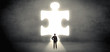 Businessman standing in front of a big puzzle piece - 194133272