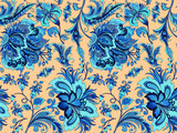 seamless blue flowers on a gold background  - 194138001