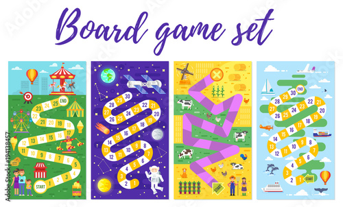set of kids boardgame;