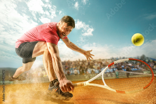 Fotobehang Tennis The one jumping player, caucasian fit man, playing tennis on the earthen court with spectators