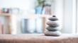 Leinwanddruck Bild - Steinmännchen in Wohnzimmer, Feng Shui, Breitbild