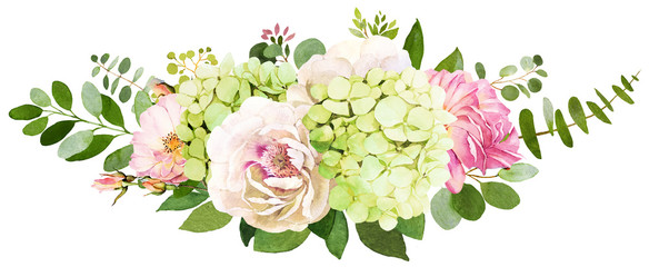 Wedding bouquet. Peony, Hydrangea and rose flowers watercolor illustrations © anamad