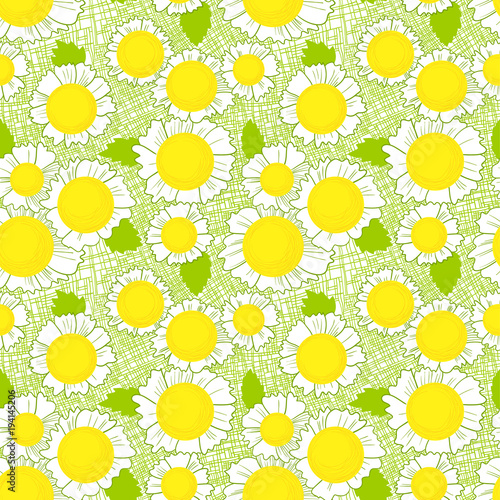Seamless pattern with daisy flowers . Background with cute beautiful blossom and leaves on fabric texture