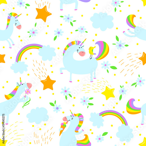 Materiał do szycia Magic unicorns background. Seamless pattern with mystical horse with corn and stars and rainbow