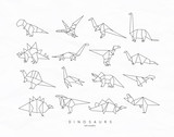 Dinosaurus origami set flat - 194145811