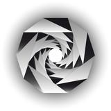 Fototapeta  - Inside triangular black white twisting form isolated. Vector background. © Anatoly Stojko