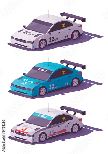Vector low poly touring racing car