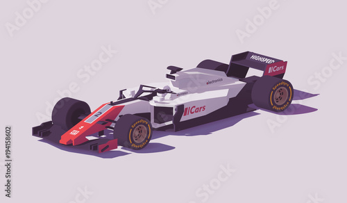 Fotobehang F1 Vector low poly formula racing car