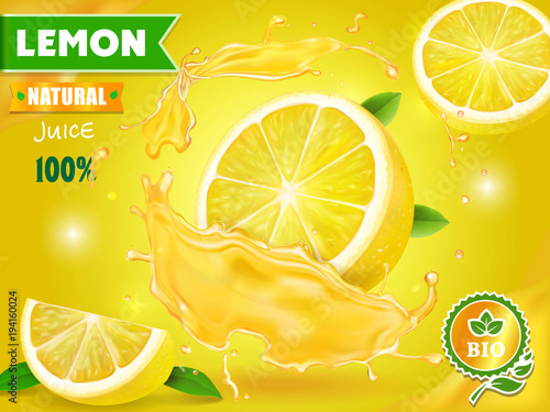 Lemon juice advertising Citrus with realistic fresh fruit. Vector ads design packaging - 194160024