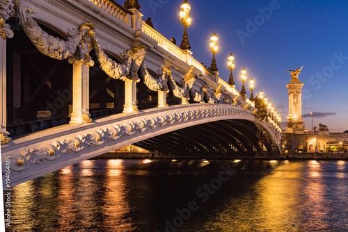 Pont Alexandre III bridge and Seine River at sunset. 8th Arrondissement, Paris, France