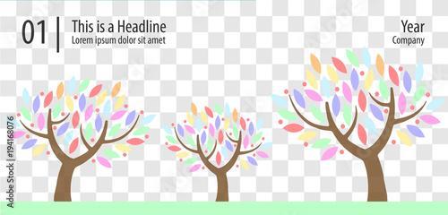 Bäume mit bunten Blättern, Vorlage Vektorgrafik