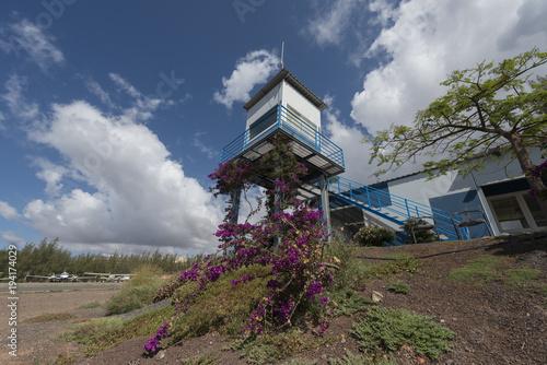 Poster Canarische Eilanden Aviation control tower at El Berriel airfield