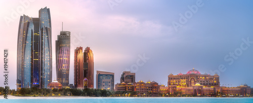 Fotobehang Abu Dhabi View of Abu Dhabi Skyline at sunrise, UAE