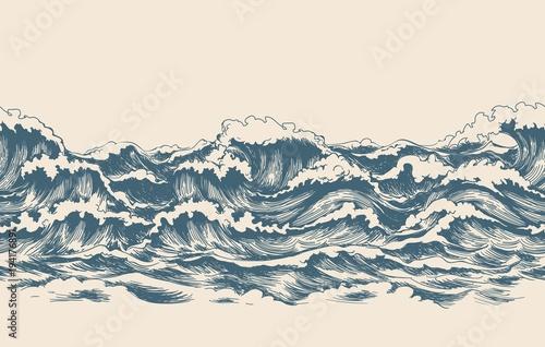 Sea waves sketch pattern. Ocean surf wave hand drawn horizontal seamless pattern vector illustration