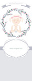 First communion celebration reminder. Cute girl wearing a white dress, surrounded by flower wreath. Space for text - 194180486