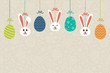 Colourful Easter background with hanging bunnies and decorative eggs. Vector.