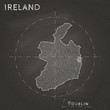 Ireland chalk map with capital marked hand drawn on textured school blackboard. Chalk Ireland outline with Dublin marked. Vector illustration. - 194180697