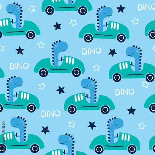 Cotton fabric seamless racing dinosaur animal with car pattern vector illustration