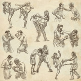 Box. Boxing Sport. Collection of boxing positions of some sportmen. An hand drawn set. - 194184083