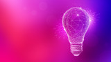 Polygon idea light bulb on blurred gradient multicolored background. Global cryptocurrency blockchain business banner concept. Lamp symbolize inspiration, innovation, invention, effective thinking. - 194185665