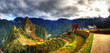 Colorful panoramic HDR image of the lost Incan city - Machu Picchu on cloudy day near Cusco, Peru