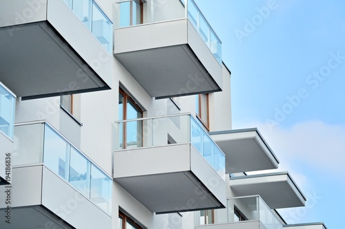Fototapeta Detail of a new modern apartment building