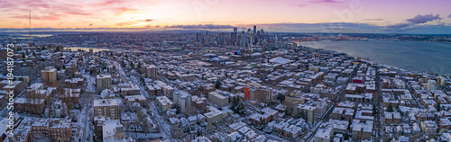 Seattle Washington Skyline Colorful Skies Aerial View Panoramic Snowy Winter Morning Sunrise Dawn
