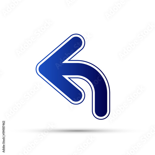 Blue Curved Arrow To Left