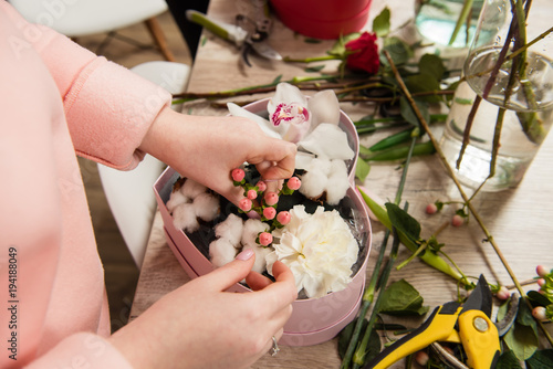 Flower shop and gift bouquet details.
