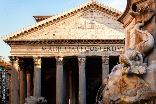 Foto op Canvas Rome Fountain and the ancient roman Pantheon in Rome at sunset