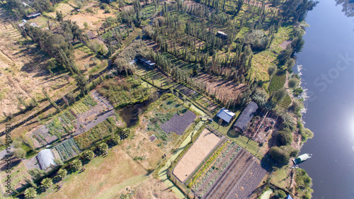 Plexiglas Grijze traf. Xochimilco, famous wetlands from Mexico City, Aerial view,
