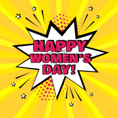 White comic bubble with Happy Women's Day word on yellow background. Comic sound effects in pop art style. Vector illustration