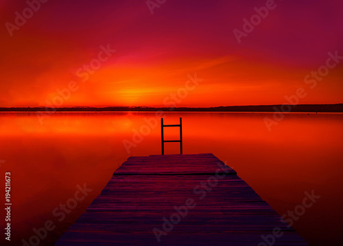 Fotobehang Rood paars landscape Evening Sunset
